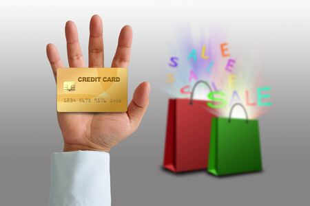 Hand holding credit card with Shopping bag Stock Photo - 16195675