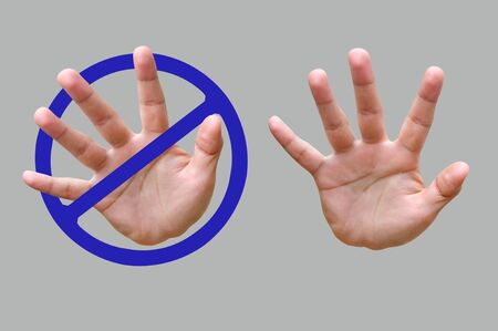 Hand of making stop gesture on gray background Stock Photo - 16756413