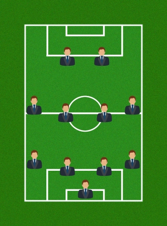 Football Field with Icon Soccer Player Tactics 4-4-2 photo
