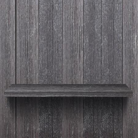 Empty wood shelf on the wood wall photo