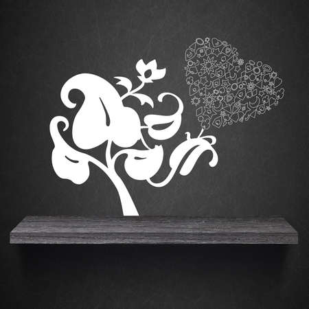 abstract romantic background with heart on wood shelf photo