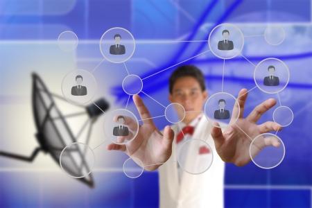 Businessman pushing people Social Network on the Satellite dish transmission data background Stock Photo - 17789722