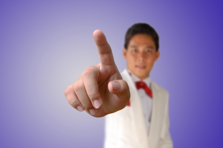 Portrait of asia Business man pressing the button Stock Photo - 17892857