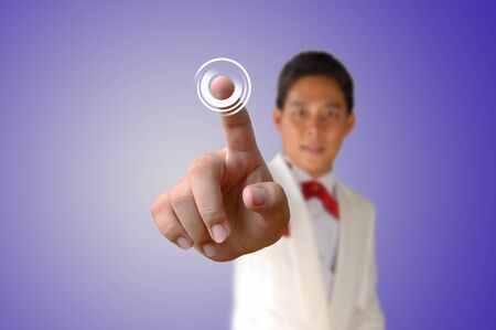 Portrait of asia Business man pressing the button Stock Photo - 17892858