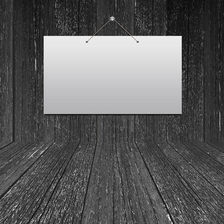 White card on wood wall in the room photo