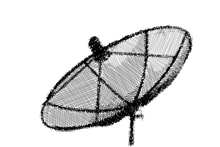 Drawing of a satellite dish on the white background photo