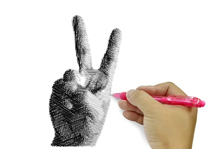 Human hand writting sketching of hand gesture photo