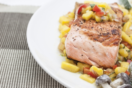 Grill salmon with mango sauce  photo