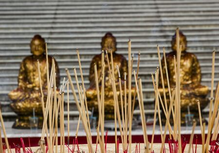 temple burn: The belief that worship Buddha with incense. I will love and appreciate. Stock Photo