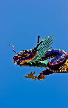 architectural tradition: Dragon Statue Chinese temple in Thailand. Stock Photo