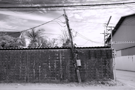 electricity pole: Tilted electricity pole (Black and White)