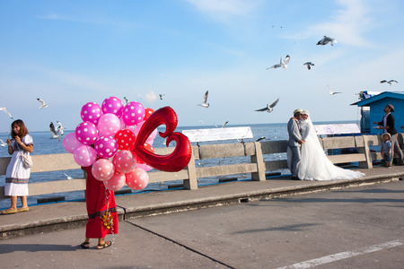 migratory birds: Samut Prakan, Thailand - December 16, 2015: Wedding couple are taken a wedding photograph at Bang Pu seaside-has many migratory birds live therefore there become tourist attractions Editorial