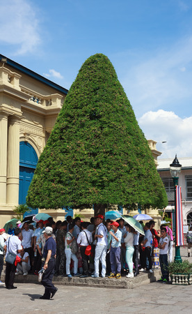 top 7: Bangkok, Thailand - June 7, 2015: On sunny day of summer, A group of tourists stand under trees shade after visiting Grand Palace-- is the top tourist attractions in Bangkok