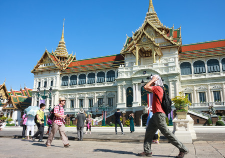 tourist attractions: Bangkok, Thailand - June 9, 2015: Tourists visit the Chakri Maha Prasat Throne Hall in Grand Palace-- is the top tourist attractions in Bangkok Editorial