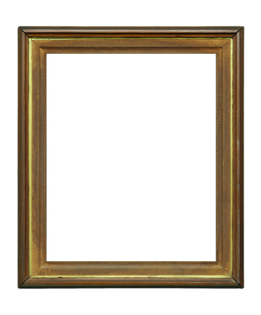 Vintage ruined picture frame on white background, with clipping path