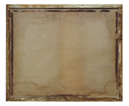 Vintage ruined picture frame on white background