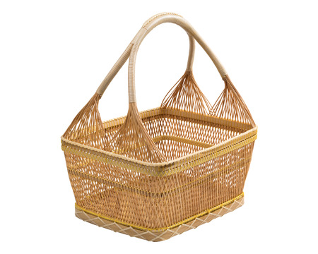 Empty beige wicker basket on white background (Focus Stacking, entire object is in focus) Stock Photo