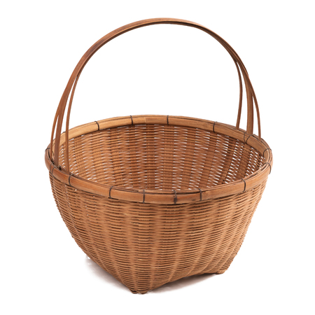 Empty old fashioned thai wicker basket on white background with clipping path (Focus Stacking, entire object is in focus) Stock Photo