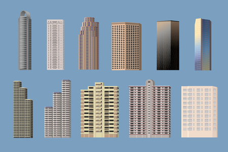 Building types object set, 11 high-rise buildings vector.