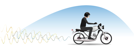 Young man In Helmet rides on old motorcycle, Vector Illustration