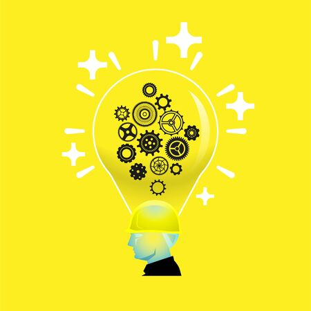 Bright positive thinking foreman with gear wheels in light bulb head, intelligent creative builder concept Illustration