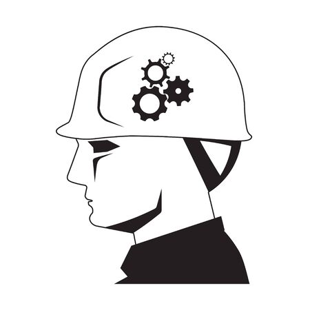 Foreman head with safety helmet and gear wheels icon on white background, creative builder concept Illustration