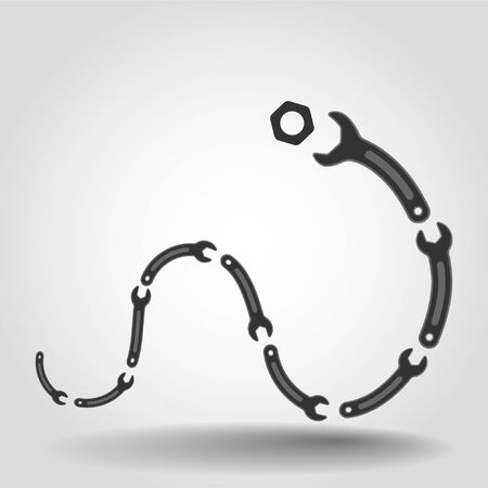 Ð¡haracter of the Snake wrench trys to bite a nut, Hard sell funny repair services background