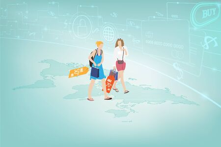 Two young female friends traveling and shopping a discount merchandise with secure credit card encryption, New lifestyle, Shopping online, Digital payment transactions concept