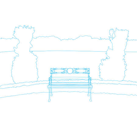 Line art drawing of Bench in public park. Waiting and Loneliness concept
