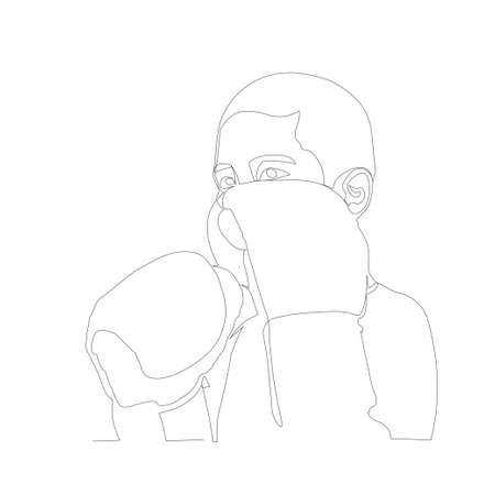 Continuous line drawing of Young boy guarding his hands as Muay thai boxer 矢量图像
