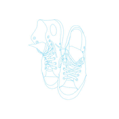 Line art drawing of A pair of old and worn canvas shoes Иллюстрация