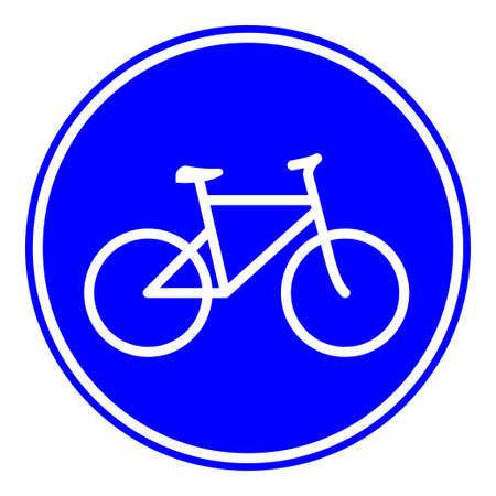 Bicycle lane road sign indicates the cycle route for pedal cyclists