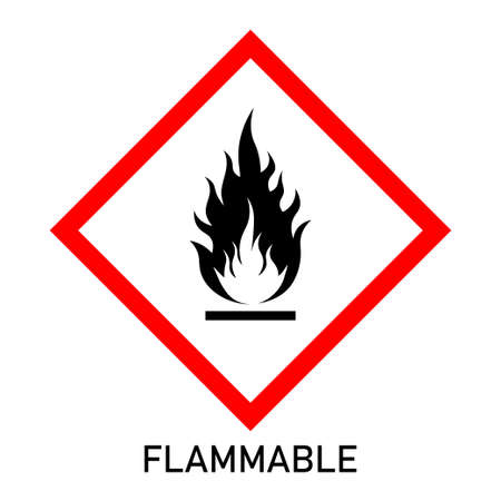 Flammable chemical hazard warning sign