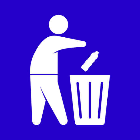 Human figure dropping a used bottle to a trash can symbol. Do not litter place rubbish in the bins provided sign