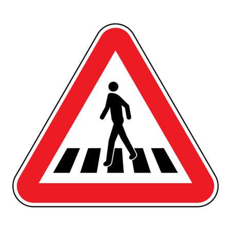 Pedestrian crossing sign. Human figure walks on zebra crosswalk in red triangular shape Vetores