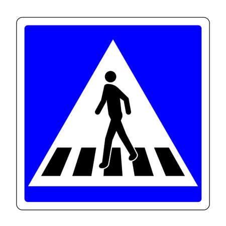 Pedestrian crossing sign. Human figure walks on zebra crosswalk in blue square shape