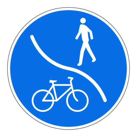 Pedestrian and Bicycle share pathway sign. Blue road sign for pedestrians and cyclists