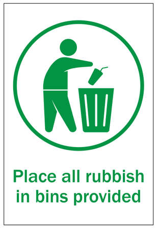 Human figure dropping garbage to a trash can. Pitch in place all rubbish in bins provided