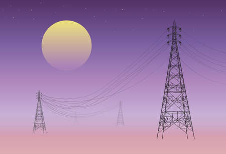 Silhouette of electricity pylons and moon at night. technology background 矢量图像