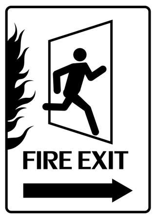 Fire exit sign. Emergency fire exit door and running human figure