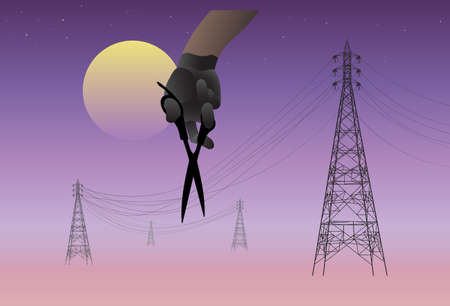 Hand with scissors cut off the electric cable at night, Power cut ,Power outage concept