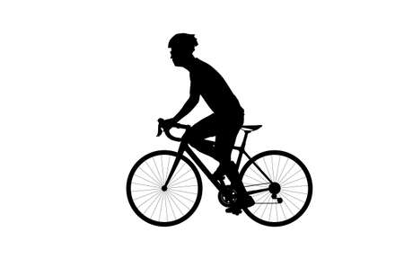 Silhouette side view of sportsman riding bicycle in helmet and sportswear, cycling concept Ilustrace