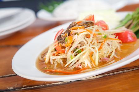 somtum: Famous Thai food, papaya salad or what we called Somtum in Thai.