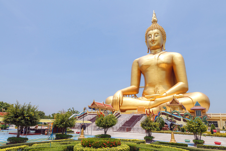 biggest: The Biggest Buddha statue at Wat Muang Ang thong temple in Thailand.