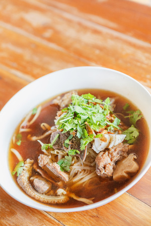 asian style: Asian style beef noodles in soup. Thai Food. Stock Photo