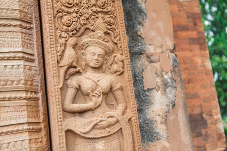 hindu: Relief carved stone of ancient Buddhist cosmology, Thailand.