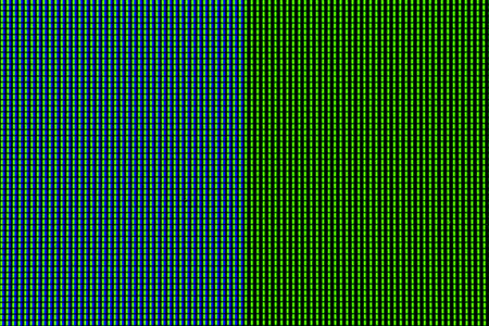 Abstract led screen in blue green tone. Led lighting bulb pattern. RGB led diode display panel. Close up LED TV display. Close up of TFT monitor for background and design with copy space for text or image. Stock Photo