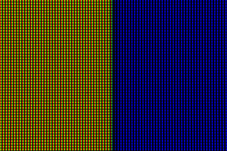 Abstract led screen in yellow blue tone. Led lighting bulb pattern. RGB led diode display panel. Close up LED TV display. Close up of TFT monitor for background and design with copy space for text or image.