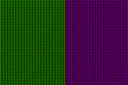 Abstract led screen in green pink tone. Led lighting bulb pattern. RGB led diode display panel. Close up LED TV display. Close up of TFT monitor for background and design with copy space for text or image.