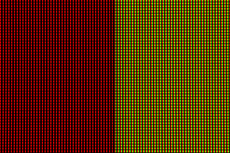 Abstract led screen in red yellow tone. Led lighting bulb pattern. RGB led diode display panel. Close up LED TV display. Close up of TFT monitor for background and design with copy space for text or image.
